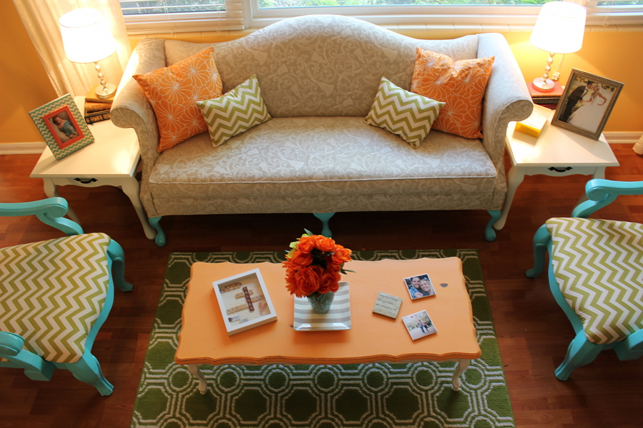 Orange Lime Green Turquoise Chevron Living Room Modern